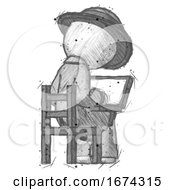 Sketch Detective Man Using Laptop Computer While Sitting In Chair View From Back