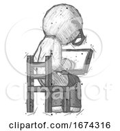 Sketch Doctor Scientist Man Using Laptop Computer While Sitting In Chair View From Back