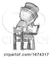 Sketch Plague Doctor Man Using Laptop Computer While Sitting In Chair View From Back