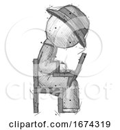 Sketch Detective Man Using Laptop Computer While Sitting In Chair View From Side