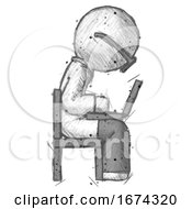 Sketch Doctor Scientist Man Using Laptop Computer While Sitting In Chair View From Side