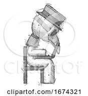 Sketch Plague Doctor Man Using Laptop Computer While Sitting In Chair View From Side