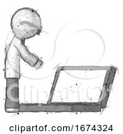 Sketch Doctor Scientist Man Using Large Laptop Computer Side Orthographic View