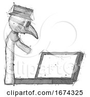 Sketch Plague Doctor Man Using Large Laptop Computer Side Orthographic View