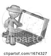 Sketch Detective Man Using Large Laptop Computer