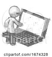 Sketch Doctor Scientist Man Using Large Laptop Computer