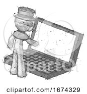 Sketch Plague Doctor Man Using Large Laptop Computer