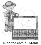 Sketch Detective Man Beside Large Laptop Computer Leaning Against It