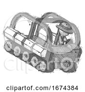 Sketch Detective Man Driving Amphibious Tracked Vehicle Top Angle View