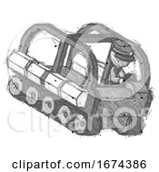 Sketch Police Man Driving Amphibious Tracked Vehicle Top Angle View
