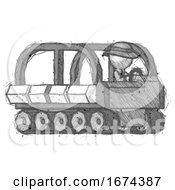 Sketch Detective Man Driving Amphibious Tracked Vehicle Side Angle View