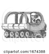 Sketch Doctor Scientist Man Driving Amphibious Tracked Vehicle Side Angle View