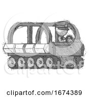 Sketch Police Man Driving Amphibious Tracked Vehicle Side Angle View