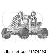 Sketch Police Man Riding Sports Buggy Side Angle View