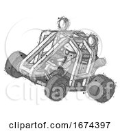Sketch Doctor Scientist Man Riding Sports Buggy Side Top Angle View
