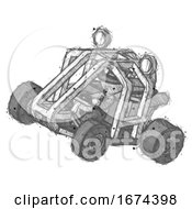 Sketch Police Man Riding Sports Buggy Side Top Angle View
