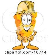 Wedge Of Orange Swiss Cheese Mascot Cartoon Character Wearing A Yellow Hardhat