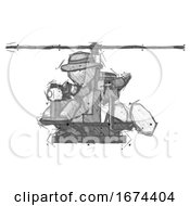 Sketch Detective Man Flying In Gyrocopter Front Side Angle View