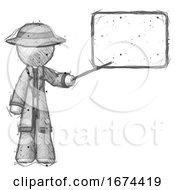 Sketch Detective Man Giving Presentation In Front Of Dry Erase Board
