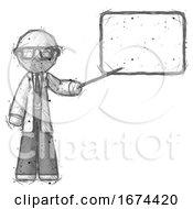 Sketch Doctor Scientist Man Giving Presentation In Front Of Dry Erase Board