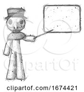 Sketch Plague Doctor Man Giving Presentation In Front Of Dry Erase Board