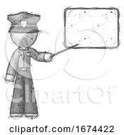 Sketch Police Man Giving Presentation In Front Of Dry Erase Board