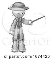 Poster, Art Print Of Sketch Detective Man Teacher Or Conductor With Stick Or Baton Directing
