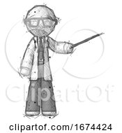Poster, Art Print Of Sketch Doctor Scientist Man Teacher Or Conductor With Stick Or Baton Directing