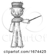 Poster, Art Print Of Sketch Plague Doctor Man Teacher Or Conductor With Stick Or Baton Directing