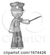 Sketch Police Man Teacher Or Conductor With Stick Or Baton Directing