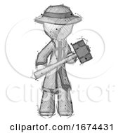 Sketch Detective Man With Sledgehammer Standing Ready To Work Or Defend