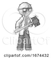 Sketch Doctor Scientist Man With Sledgehammer Standing Ready To Work Or Defend