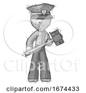 Sketch Police Man With Sledgehammer Standing Ready To Work Or Defend