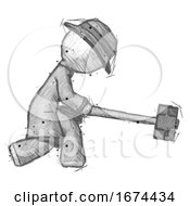 Sketch Detective Man Hitting With Sledgehammer Or Smashing Something