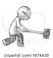 Sketch Doctor Scientist Man Hitting With Sledgehammer Or Smashing Something