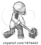 Sketch Doctor Scientist Man Hitting With Sledgehammer Or Smashing Something At Angle