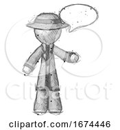 Sketch Detective Man With Word Bubble Talking Chat Icon