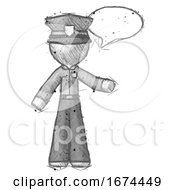 Sketch Police Man With Word Bubble Talking Chat Icon