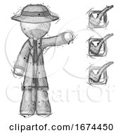 Sketch Detective Man Standing By List Of Checkmarks