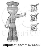 Sketch Police Man Standing By List Of Checkmarks