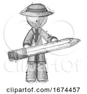 Sketch Detective Man Writer Or Blogger Holding Large Pencil