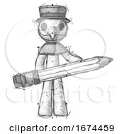 Sketch Plague Doctor Man Writer Or Blogger Holding Large Pencil