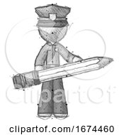 Poster, Art Print Of Sketch Police Man Writer Or Blogger Holding Large Pencil