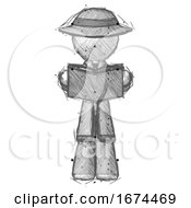 Poster, Art Print Of Sketch Detective Man Reading Book While Standing Up Facing Viewer