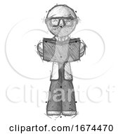 Sketch Doctor Scientist Man Reading Book While Standing Up Facing Viewer