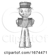 Poster, Art Print Of Sketch Plague Doctor Man Reading Book While Standing Up Facing Viewer