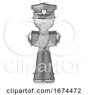 Poster, Art Print Of Sketch Police Man Reading Book While Standing Up Facing Viewer