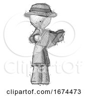 Poster, Art Print Of Sketch Detective Man Reading Book While Standing Up Facing Away