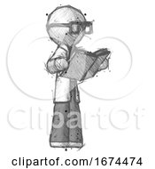Sketch Doctor Scientist Man Reading Book While Standing Up Facing Away