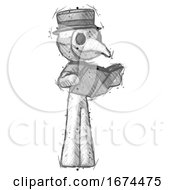 Poster, Art Print Of Sketch Plague Doctor Man Reading Book While Standing Up Facing Away